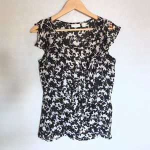 BLACK & WHITE FLORAL BLOUSE
